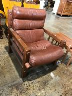Retro leather post and rail chair