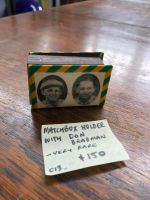 VERY RARE match box holder with Don Bradman -