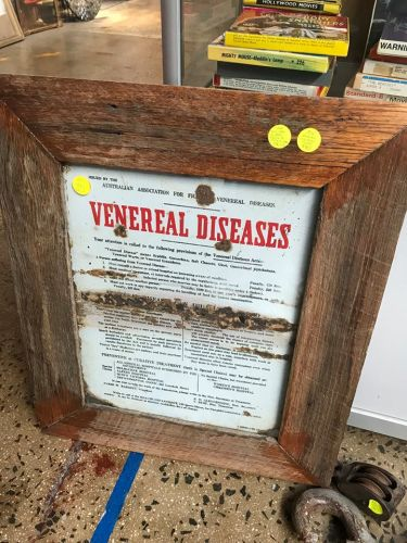 Framed Enamel  Veneral Disease Sign