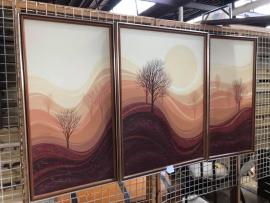 Retro oil on canvas 3 piece landscape