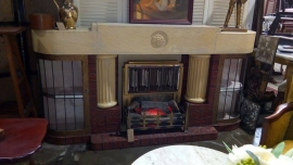 1950s Fireplace Surround and Bar Heater